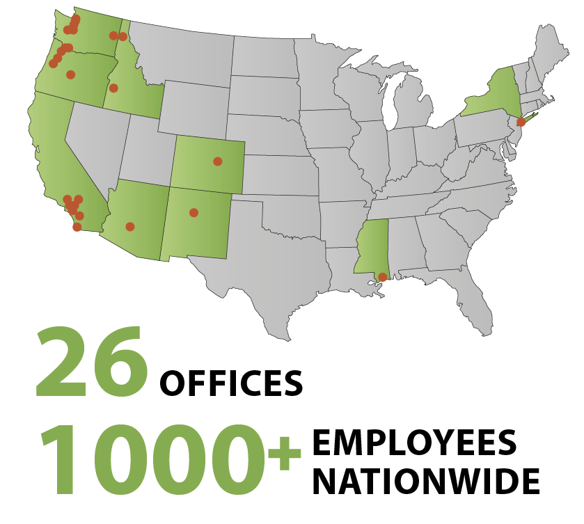 26 offices, 1000 staff