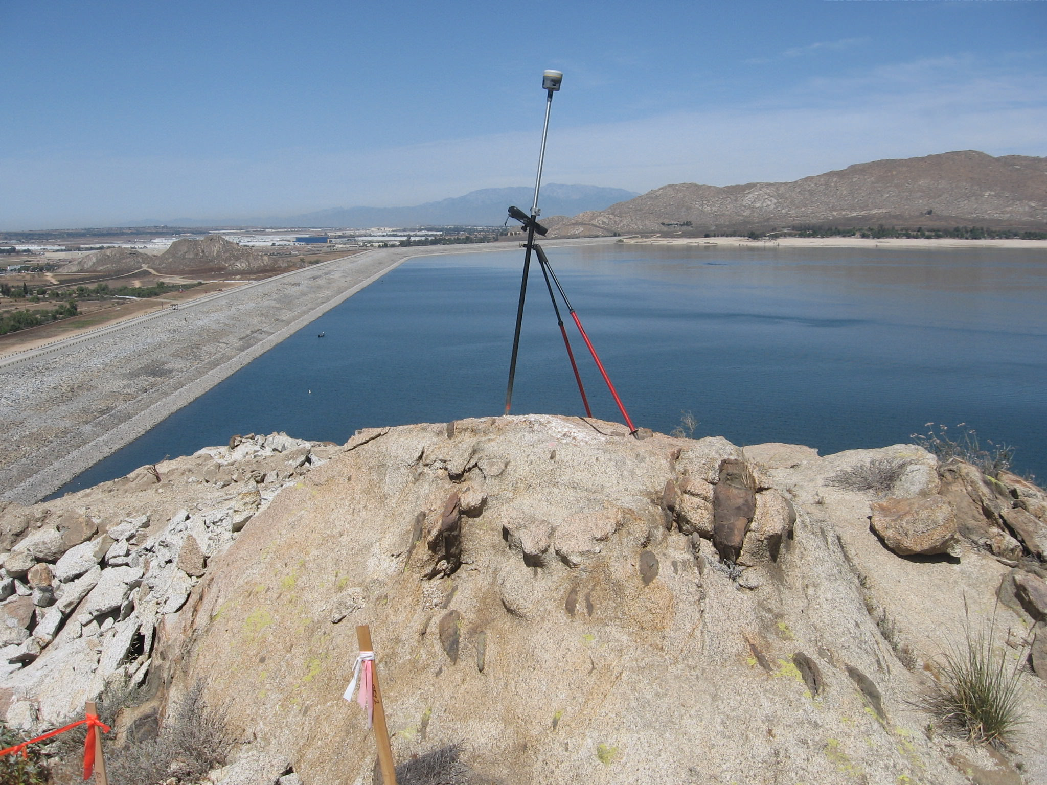 Lake Perris Dam with Surveying Equipment