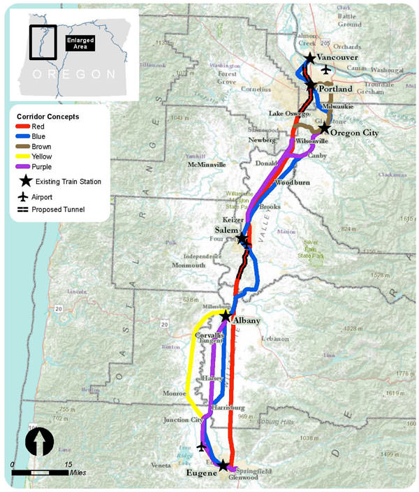 Oregon Rail Map, part of the Pacific Northwest Rail Corridor