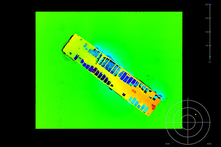 Multibeam data on rig ruins