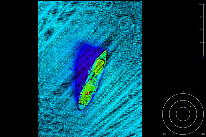 Multibeam data over wreck above