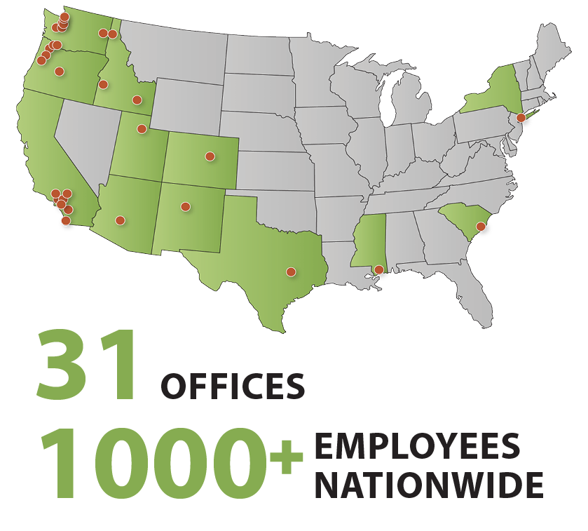 31 offices, 1000 staff